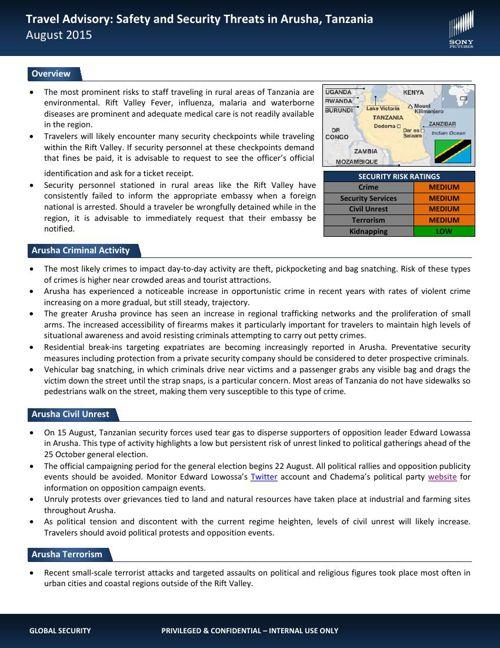 Travel Advisory Arusha August 2015