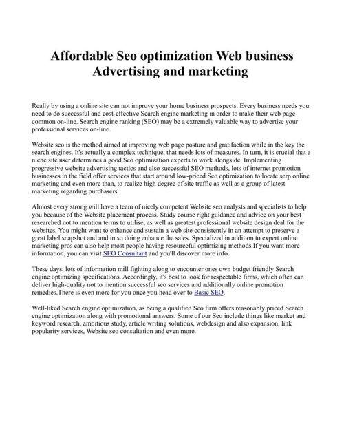 Affordable Seo optimization Web business Advertising and marketi