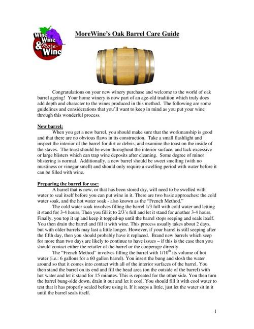 Wine's Oak Barrel Care Guide