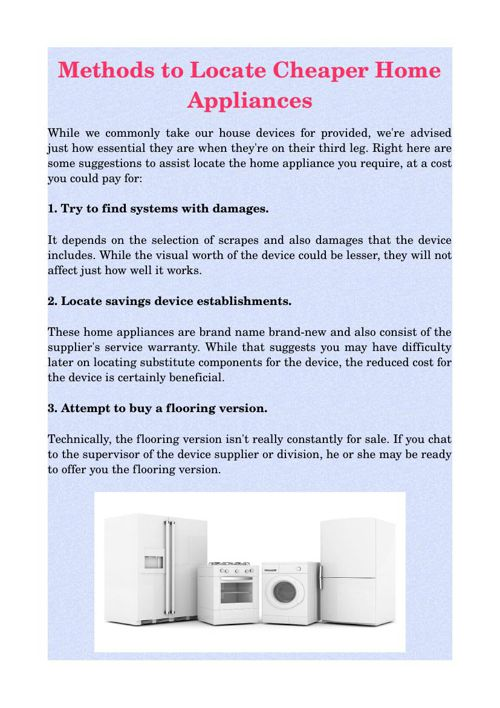 Methods to Locate Cheaper Home Appliances