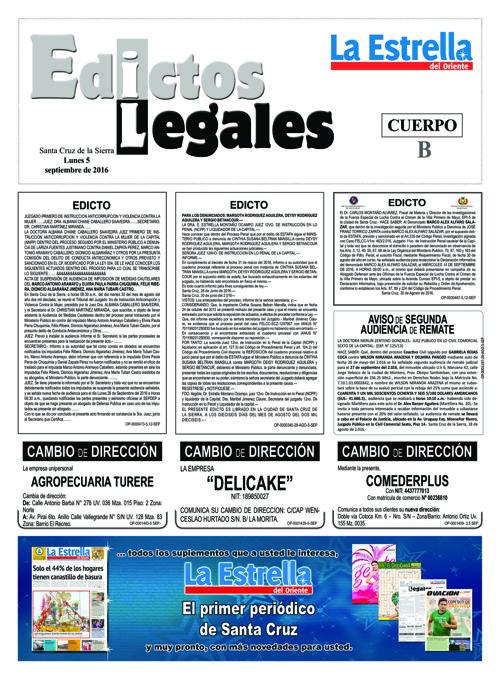 Judiciales 5 lunes - septiembre 2016