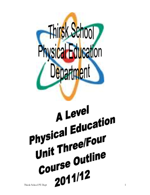 A Level PE Sports Psychology & Practical Course Outline