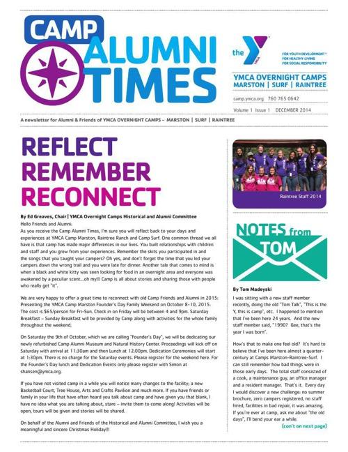 Camp Alumni Times - December 2014