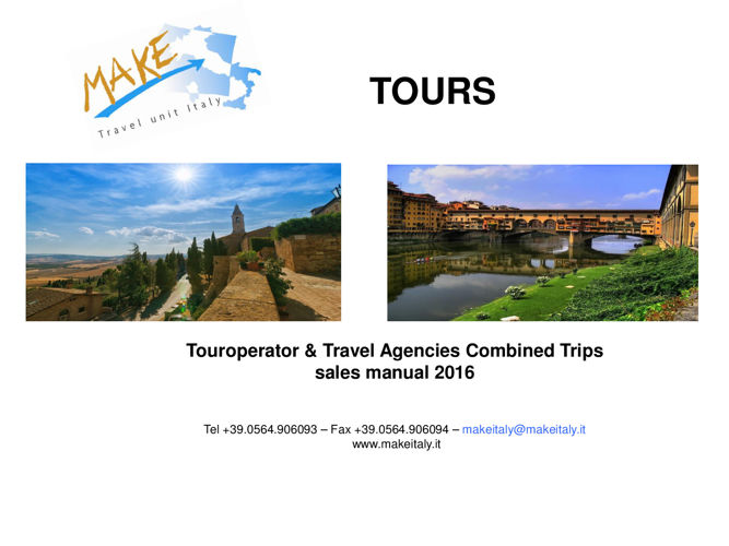 TO & Travel Agencies sales manual 2016 Tours