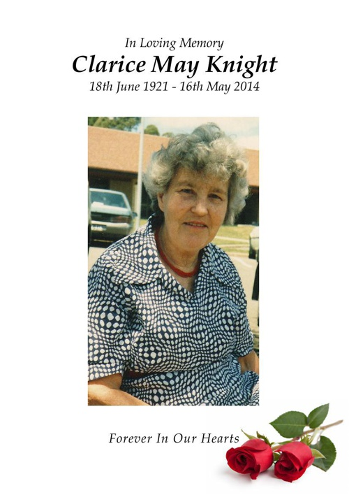 4 Order of Service for Clarice May Knight