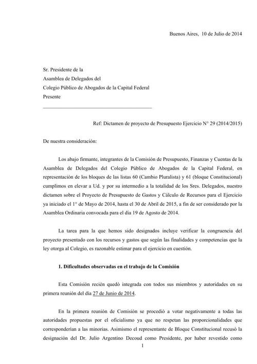 Presupuesto 2014-2015  Dictamen (para consenso)