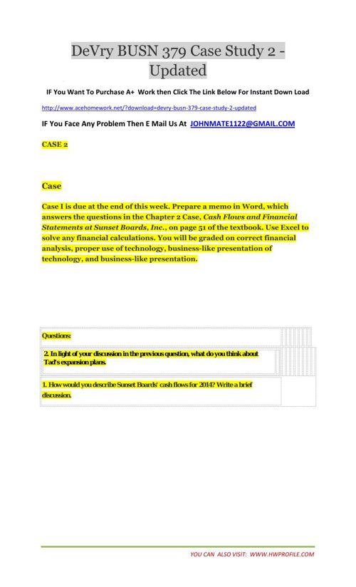 DeVry BUSN 379 Case Study 2 - Updated