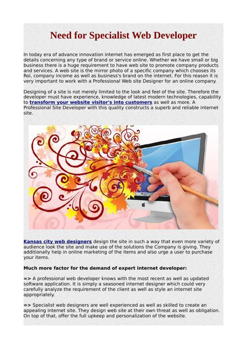 Need for Specialist Web Developer