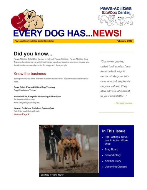 Paws-Abilities Newsletter [Feb. 2013 Issue]