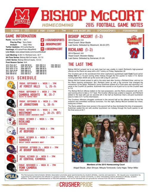 Week 5 Game Notes vs Richland