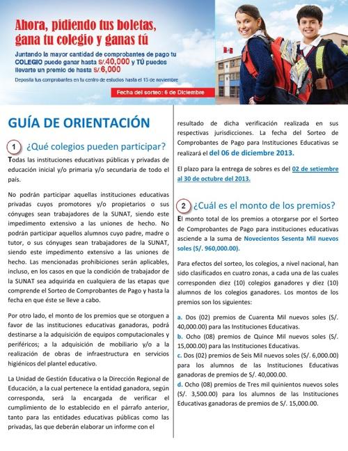 SORTEO DE COMPROBANTES DE PAGO 2013