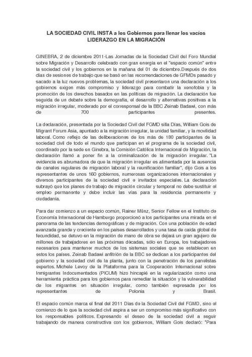 LA SOCIEDAD CIVIL INSTA A LOS GOBIERNOS LLENAR EL VACIO DE L...
