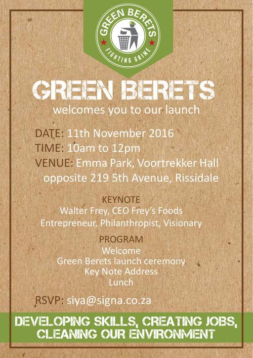 Green Berets Launch Invitation 11th November 2016