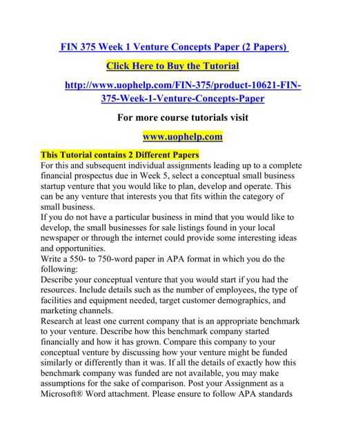 FIN 375 Week 1 Venture Concepts Paper (2 Papers)