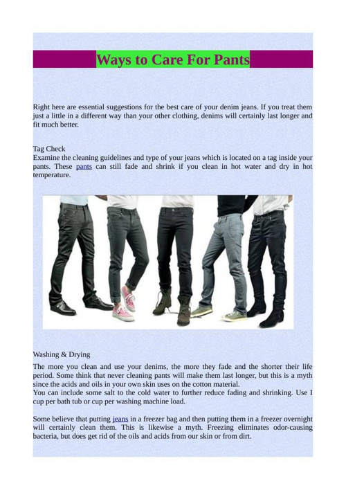 Ways to Care For Pants