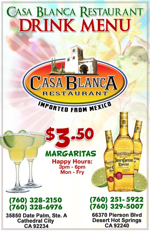 Casa Blanca Restaurant Drink Menu