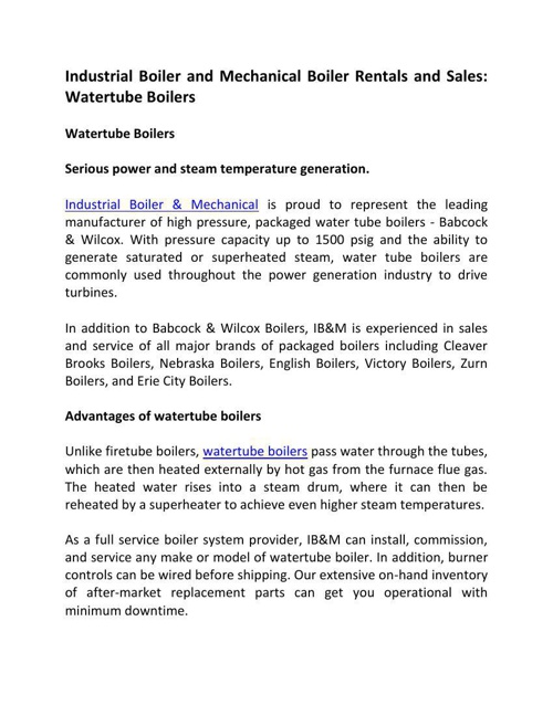 Industrial Boiler and Mechanical Boiler Rentals and Sales: Water
