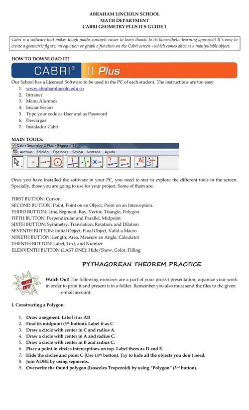 Copy of CABRI PROJECT 7TH GRADE