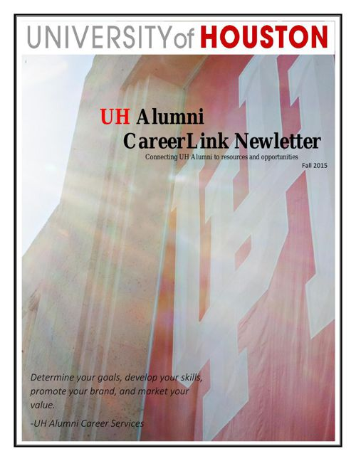 UH Alumni CareerLink Newletter Fall 2015
