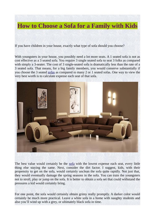 How to Choose a Sofa for a Family with Kids