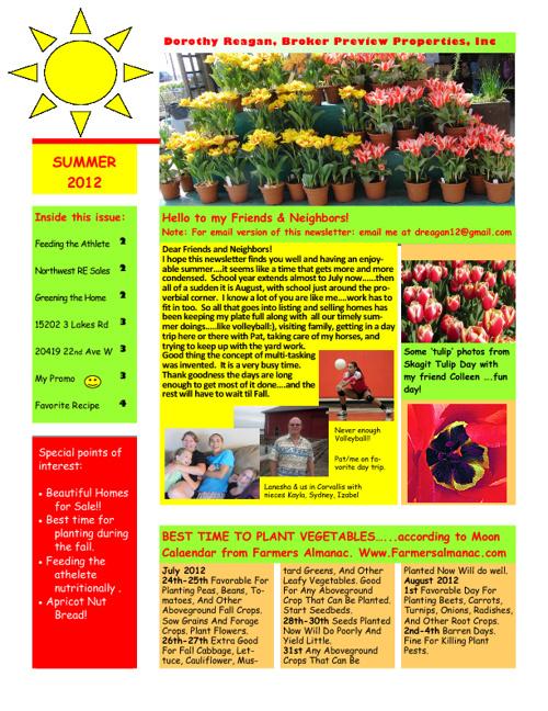 Dorothy Reagan Summer News 2012