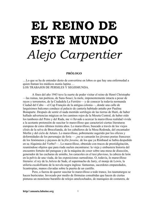 El Reino de Este Mundo de Alejandro Carpentier