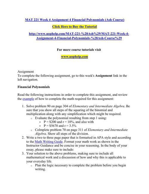 MAT 221 Week 4 Assignment 4 Financial Polynomials (Ash Course)
