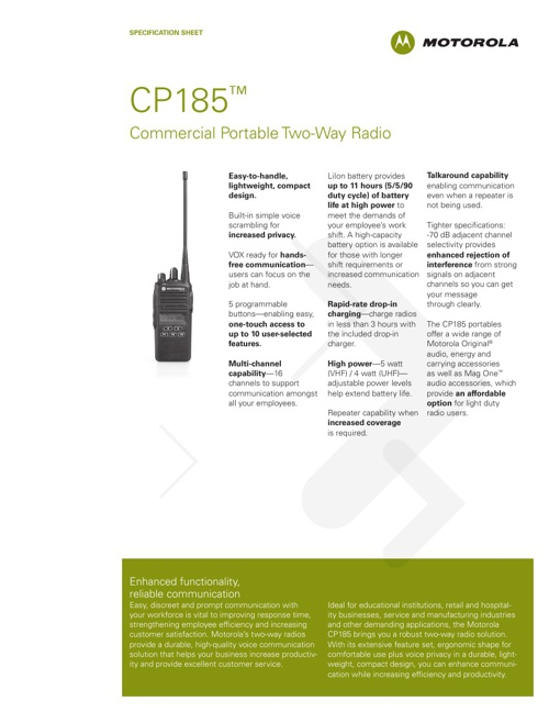 Motorola CP185 Document Library
