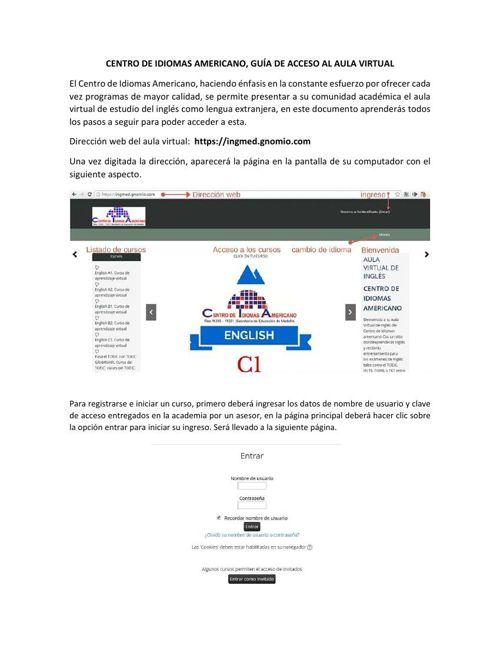 CENTRO DE IDIOMAS AMERICANO GUIA DE ACCESO AL AULA VIRTUAL