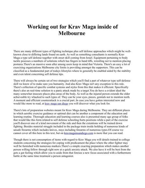 Working out for Krav Maga inside of Melbourne