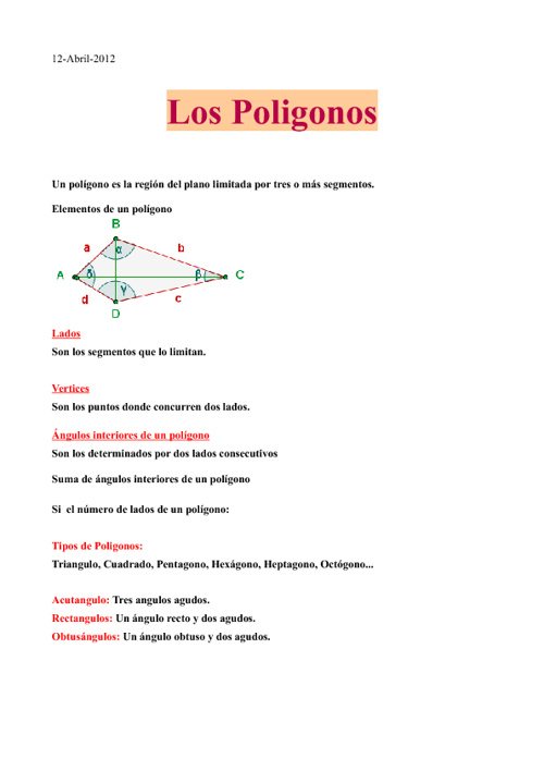 informacion sobre los poligonos