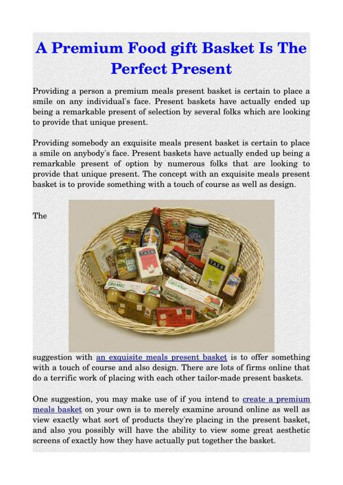 A Premium Food gift Basket Is The Perfect Present