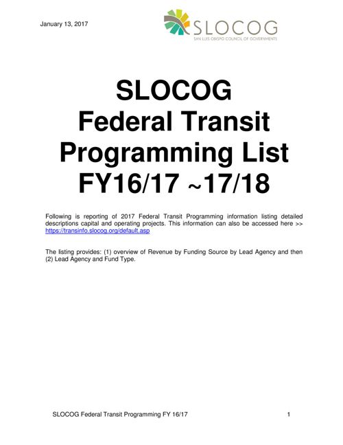 Federal Transit Programming - Jan 2017 Report
