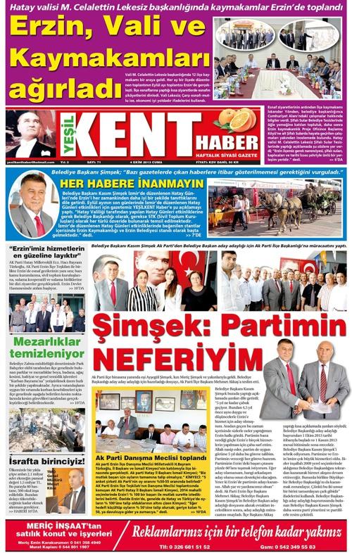 Yeşilkent Haber Gazetesi - Sayı 71