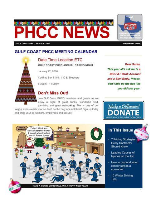 GULF COAST PHCC DECEMBER 2015 NEWSLETTER