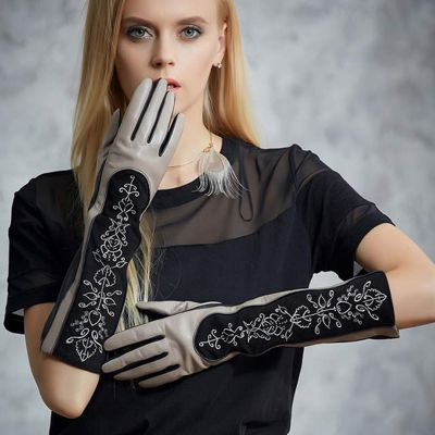 Fioretto-Women's-Elegant-Silver-Embroidery-Long-Leather-Gloves (