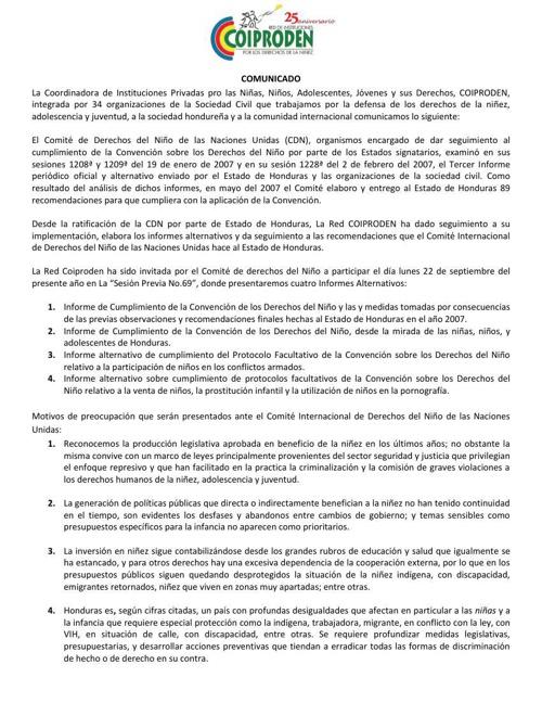 COMUNICADO Visita al Comité de los Derechos del Niño de la ONU (