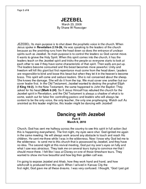 Dancing with Jezebel, By Shane W Roessiger