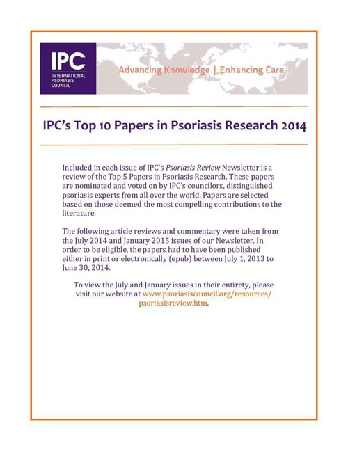 IPC's Top 10 Articles in Psoriasis Research 2014
