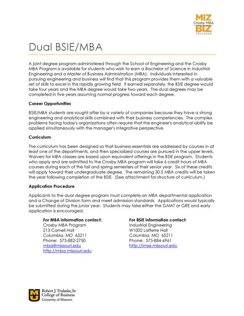 BSIE-MBA Dual Degree Information
