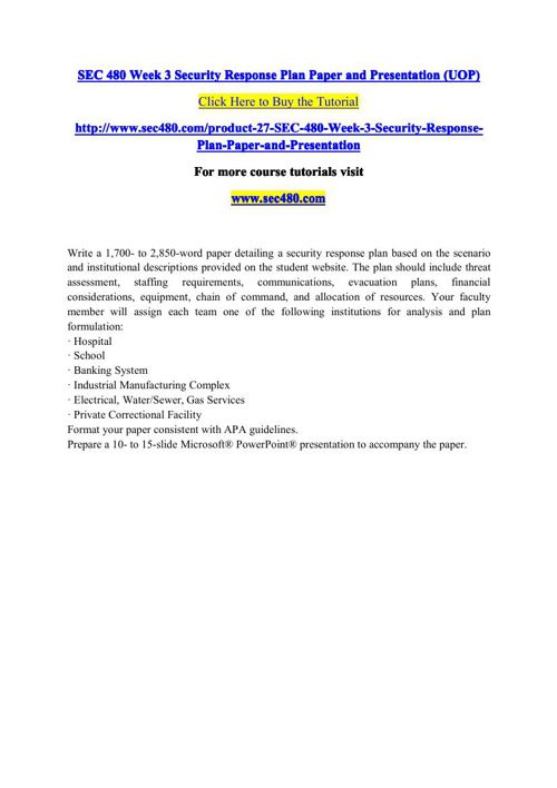 SEC 480 Week 3 Security Response Plan Paper and Presentation (UO