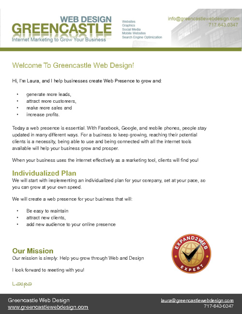 Greencastle Web Design Brochure