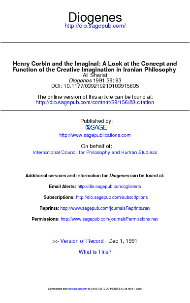 SHARIAT, A., « Henry Corbin and the Imaginal:
