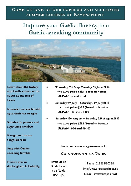 Gaelic Course Program Schedule