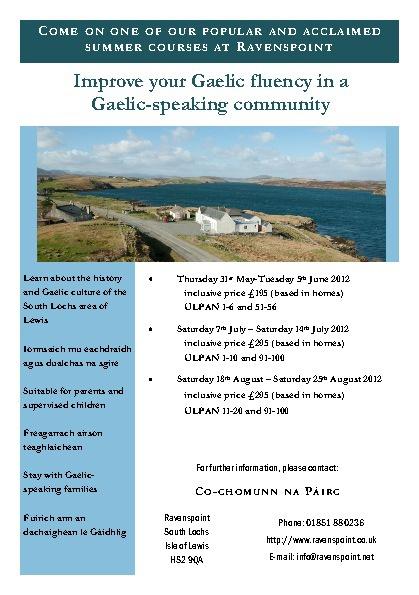 Gaelic Course Program Schedule