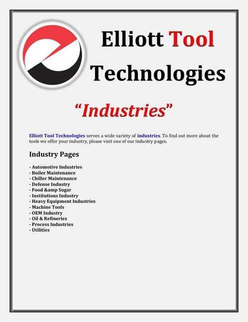 Elliott Tool Technologies - Industries