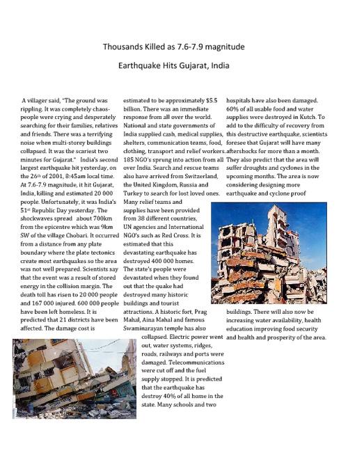 Thousands Killed as 7.6-7.9 magnitude Earthquake Hits Gujarat.