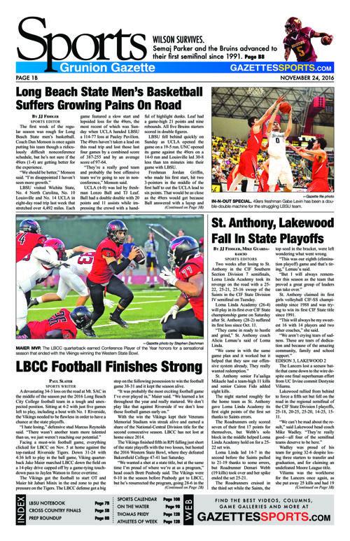Gazette Sports  |  November 24, 2016