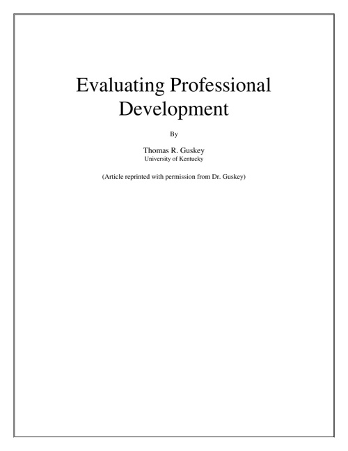 Guskey Model for Evaluating Professional Development