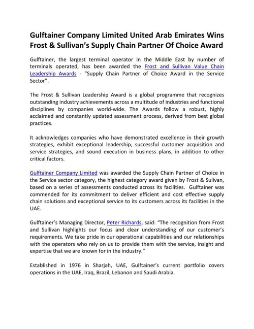 Gulftainer Company Limited United Arab Emirates Wins Frost & Sul